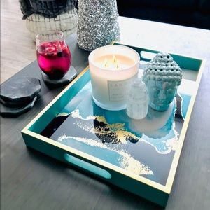 Other - Blue gold marble serving tray decor